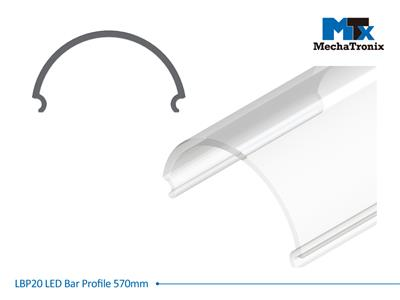 Mechatronix LBP20COV-570 LED bar profile for LED Strip or PCB in maximum W16mmxH1.0mm; Transparent cover; L570mm