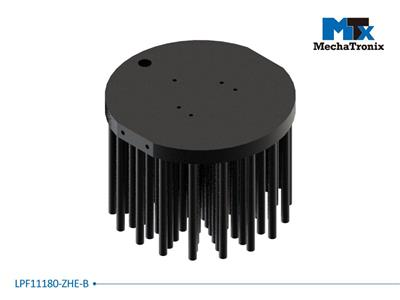 Mechatronix LPF11180-ZHE-B LED Pin Fin Cooler for spot and downlights from 4,800-9,600 lm; ø111mmxH80mm; Rth 1.07°C/W; Mounting holes for Zhaga book 3 LED modules; Black Anodized