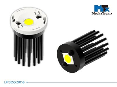 Mechatronix LPF3550-ZHC-B LED Pin Fin Cooler for spot and downlights from 700-1,300 lm; ø35mmxH50mm; Rth 7.41°C/W; Mounting holes for Zhaga book 11 LED modules & 13.5x13.5mm LED COB; Black Anodized