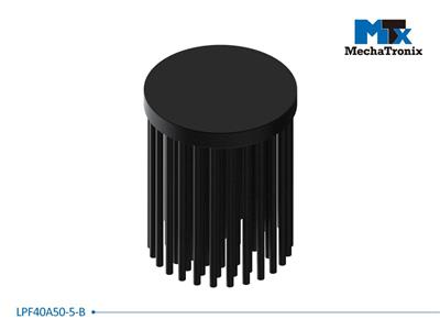 Mechatronix LPF40A50-5-B LED Pin Fin Cooler for spot and downlights from 750-1,500 lm; ø40mmxH50mm; Rth 6.9°C/W; 5mm solid base without mounting holes; Black Anodized