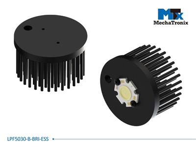 Mechatronix LPF5030-B-BRI-ESS LED Pin Fin Cooler for Bridgelux ES Star LED Arrays; Cooling performance 750-1,500 lm; ø50mmxH30mm; Rth 6.9°C/W; Black Anodized