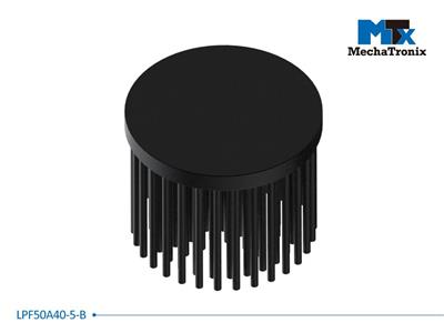 Mechatronix LPF50A40-5-B LED Pin Fin Cooler for spot and downlights from 850-1,700 lm; ø50mmxH40mm; Rth 5.7°C/W; 5mm solid base without mounting holes; Black Anodized