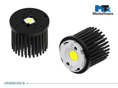 MechaTronix LED Pin Fin Cooler for spot and downlights from 500-1,700 lm; ø60mm x H50mm; Rth 4.0°C/W; Mounting holes for Zhaga book 3, 11 LED modules & 13.5x13.5mm LED COB; Black Anodized