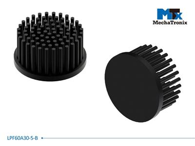 Mechatronix LPF60A30-5-B LED Pin Fin Cooler for spot and downlights from 850-1,700 lm; ø60mmxH30mm; Rth 5.5°C/W; 5mm solid base without mounting holes; Black Anodized
