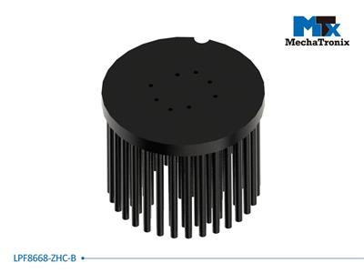 Mechatronix LPF8668-ZHC-B LED Pin Fin Cooler for spot and downlights from 3,300-6,500 lm; ø86mmxH68mm; Rth 1.46°C/W; Mounting holes for Zhaga book 3 LED modules & 19x19mm LED COB; Black Anodized
