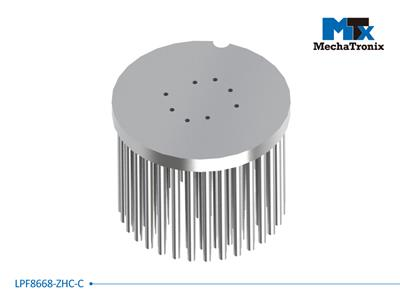 Mechatronix LPF8668-ZHC-C LED Pin Fin Cooler for spot and downlights from 3,300-6,500 lm; ø86mmxH68mm; Rth 1.46°C/W; Mounting holes for Zhaga book 3 LED modules & 19x19mm LED COB; Clear Anodized