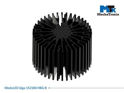 Mechatronix MODULED GIGA 152100-B-HBG Modular LED Star Cooler for low and high bay from 9,000-18,000 lm with Meanwell HBG series drivers; ø152mmxH100mm; Rth 0.52°C/W; Mounting holes for Zhaga book 3 L