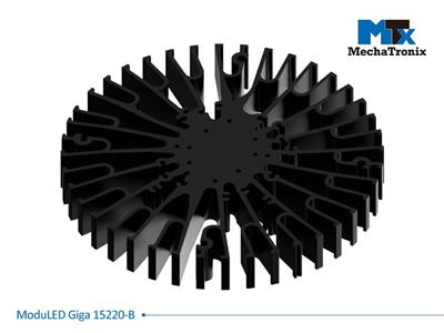 Mechatronix MODULED GIGA 15220-B Modular LED Star Cooler for low and high bay designs from 4,300-8,500 lm; ø152mmxH20mm; Rth 1.13°C/W; Mounting holes for Zhaga book 3 LED module & 27 mounting holes fo