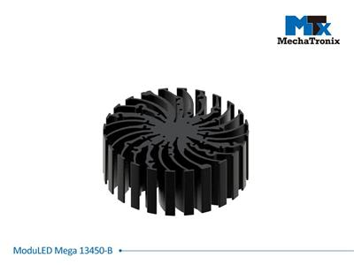 Mechatronix MODULED MEGA 13450-B Modular LED Star Cooler for low and high bay designs from 5,500-11,000 lm; ø134mmxH50mm; Rth 0.88°C/W; Mounting holes for Zhaga book 3 LED module & 36 mounting holes f