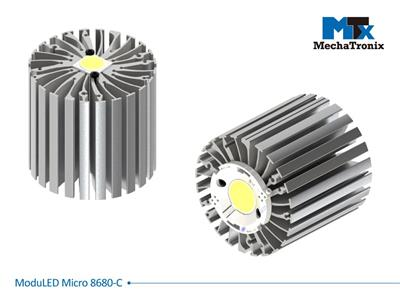 Mechatronix MODULED MICRO 8680-C Modular LED Star Cooler for spot and downlights from 4,000-8,000 lm; ø86mmxH80mm; Rth 1.2°C/W; Mounting holes for Zhaga book 3, 11 LED modules & 30 mounting holes for