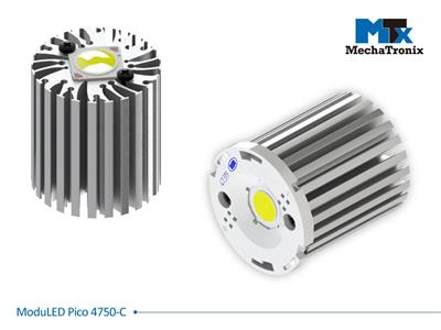 Mechatronix MODULED PICO 4750-C Modular LED Star Cooler for spot and downlights from 900-1,800 lm; ø47mmxH50mm; Rth 5.3°C/W; Mounting holes for Zhaga book 3, 11 LED modules & 20 mounting holes for all