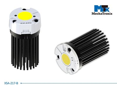 Mechatronix XSA-217-B LED Pin Fin Cooler for Xicato XSM, XIM, XTM LED module; Cooling performance 1,300-2,500 lm; ø47mmxH68mm; Rth 3.9°C/W; With side cable hole; Black Anodized