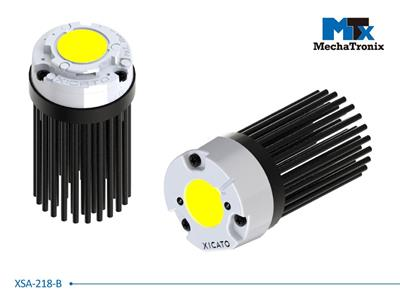 Mechatronix XSA-218-B LED Pin Fin Cooler for Xicato XSM LED module; Cooling performance 1,300-2,500 lm; ø47mmxH68mm; Rth 3.9°C/W; With center cable hole; Black Anodized